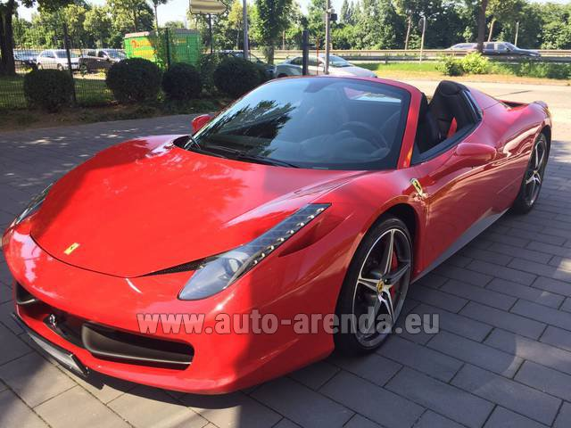 Hire and delivery to Prague Airport the car Ferrari 458 Italia Spider Cabrio Red