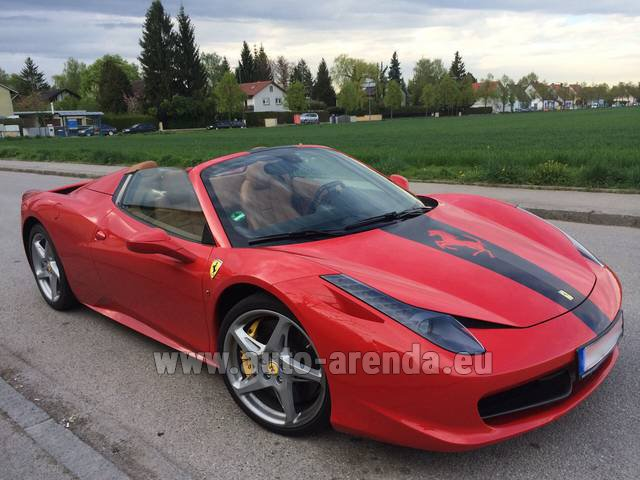 Hire and delivery to Prague Airport the car Ferrari 458 Italia Spider Cabrio