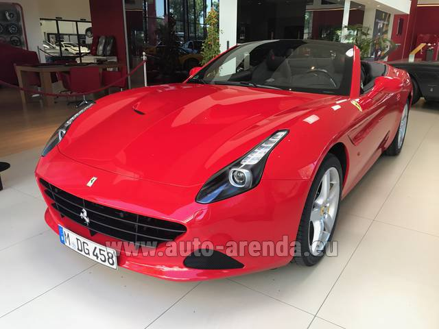 Hire and delivery to Prague Airport the car Ferrari California T Convertible Red