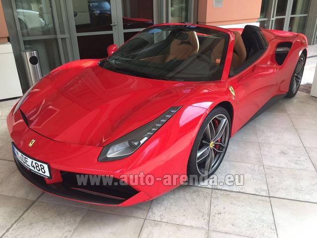 Hire and delivery to Prague Airport the car Ferrari 488 GTB Spider Cabrio