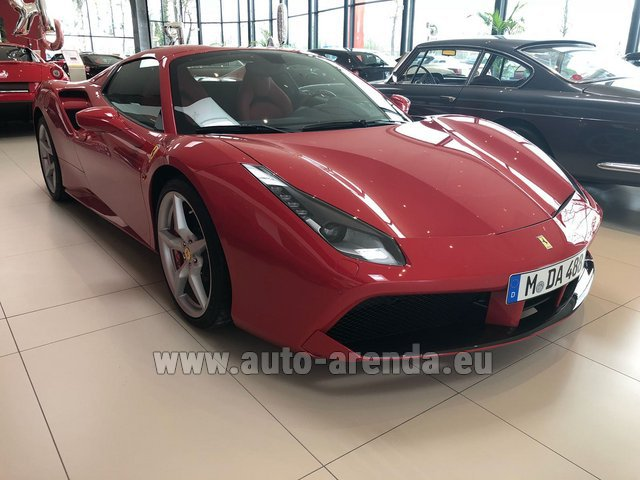 Hire and delivery to Prague Airport the car Ferrari 488 Spider