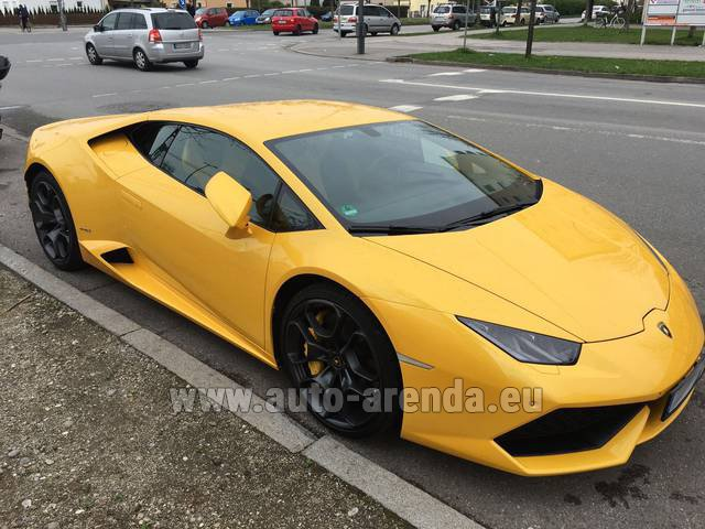 Rental Lamborghini Huracan LP 610-4 Yellow in Prague
