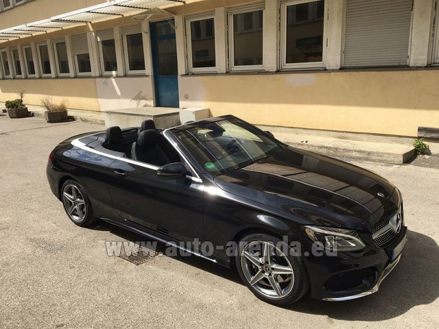 Hire and delivery to Prague Airport the car Mercedes-Benz C 180 Cabrio AMG Equipment Black