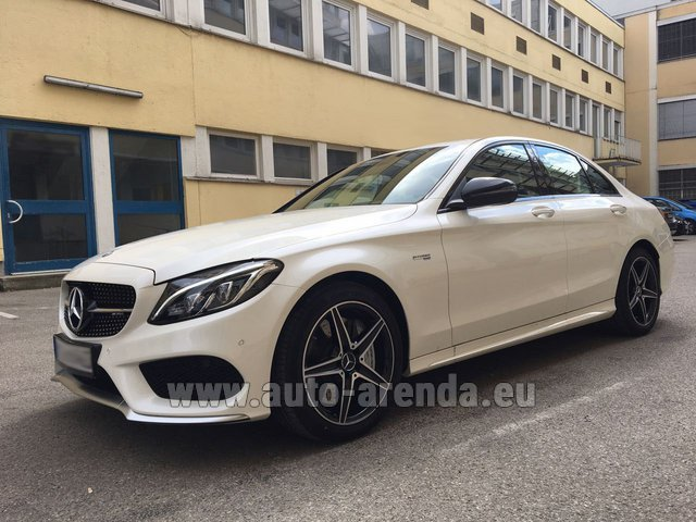 Rental Mercedes-Benz C-Class C43 AMG Biturbo 4MATIC White in Pilsen