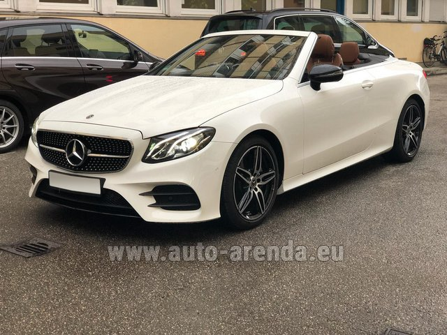 Hire and delivery to Prague Airport the car Mercedes-Benz E-Class E300d Cabriolet diesel AMG equipment